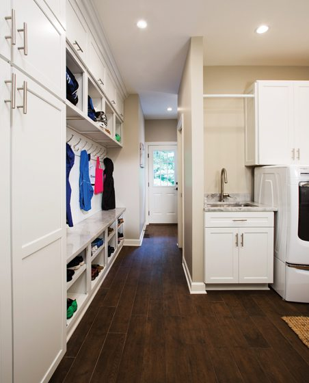 The mudroom includes cubbies for the kids and plenty of storage.