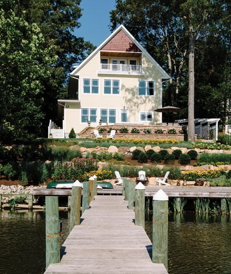 The house makes the most of its waterfront setting on the banks of Little Hunting Creek.
