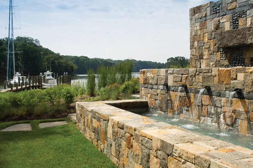 A fountain near the husband's office brings the sound of water to the main house.