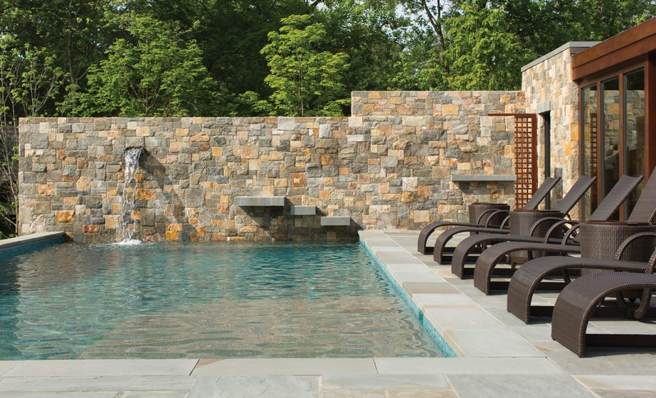 Stone slabs in the pool wall create natural diving platforms.