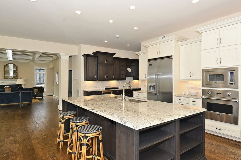 A speculative home by Mid-Atlantic Custom Builders boasts a clean-lined kitchen.