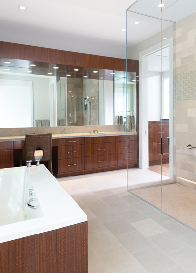 Architect Scarlett Breeding and her team focused on accessibility and a clean, modern aesthetic in the design of an Annapolis bath.