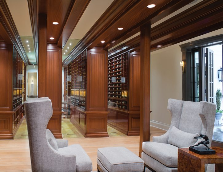 Architect Donald Lococo created a wine cellar that's reminiscent of a stately library.