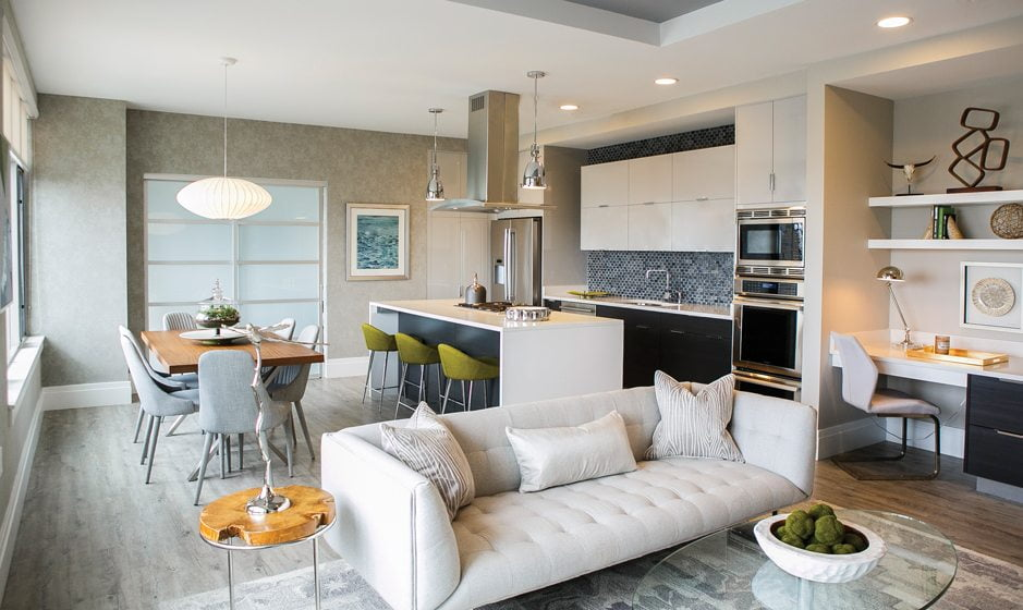 The designers enhanced a model residence in North Bethesda's Pike & Rose with sleek, modern furniture. © Violetta Markelou