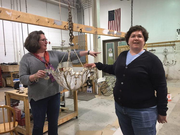Eleanor Niermann and Claire Niermann discuss the making of a Niermann Weeks chandelier.