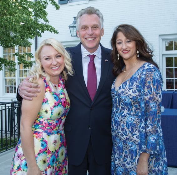 Event co-chairs Lindsey Keatley (left) and Sushma Shenoy with Virginia Governor Terry McAuliffe.
