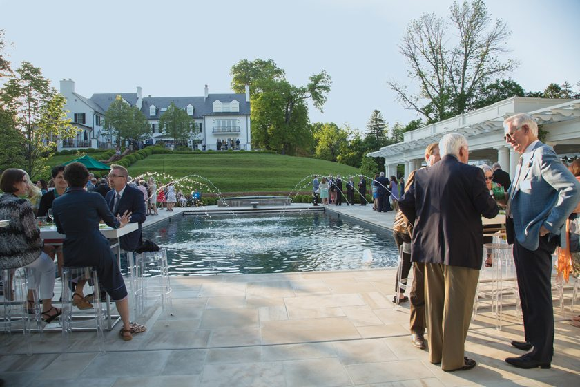 Following the VIP reception, guests enjoyed dinner on Hickory Hill's pool terrace.