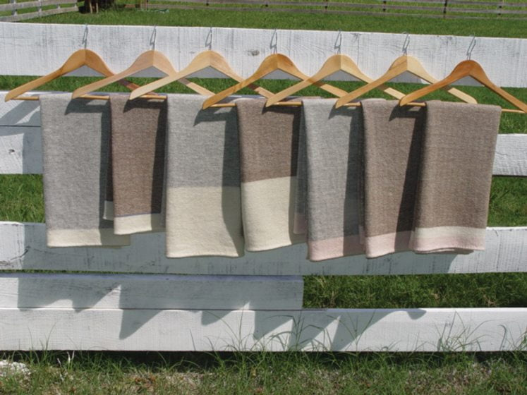 Nordt favors restrained patterns and neutral color palettes in her blankets.