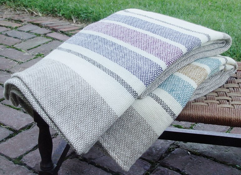 A sampling of blankets woven by Nordt.