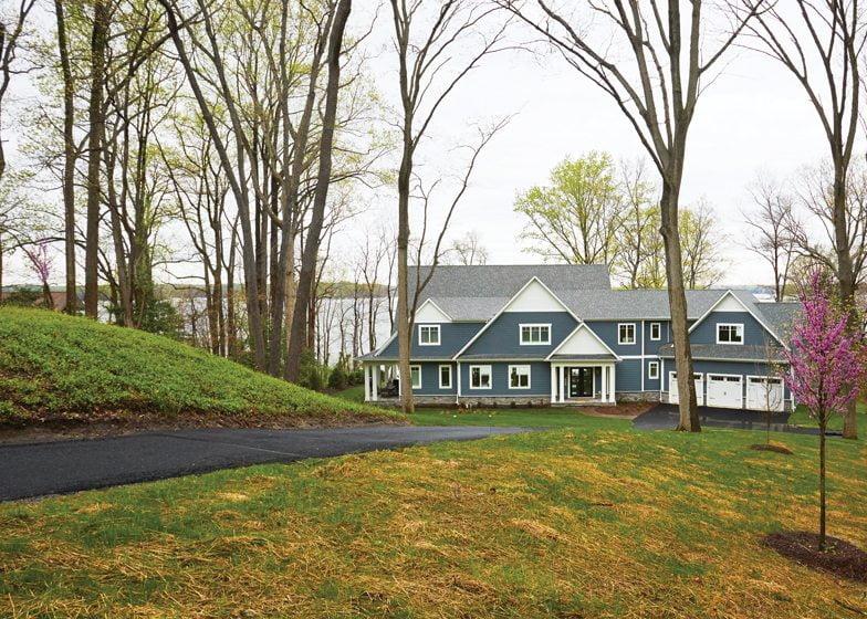 A custom residence by Baldwin Homes, Inc., enjoys views of the Severn River.
