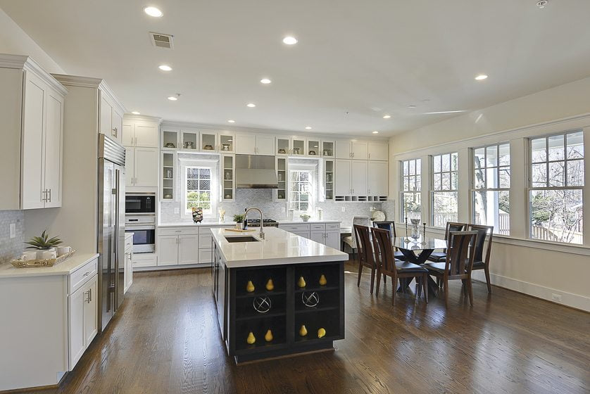 Mid-Atlantic Custom Builders crafted a green home with a functional, eco-friendly kitchen.