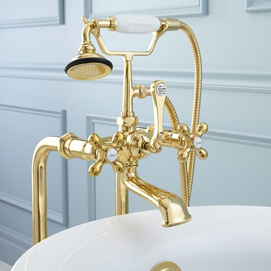 Signature Hardware's Freestanding Telephone Tub Faucet.