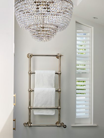 A solid-brass heated towel rail by Drummonds.