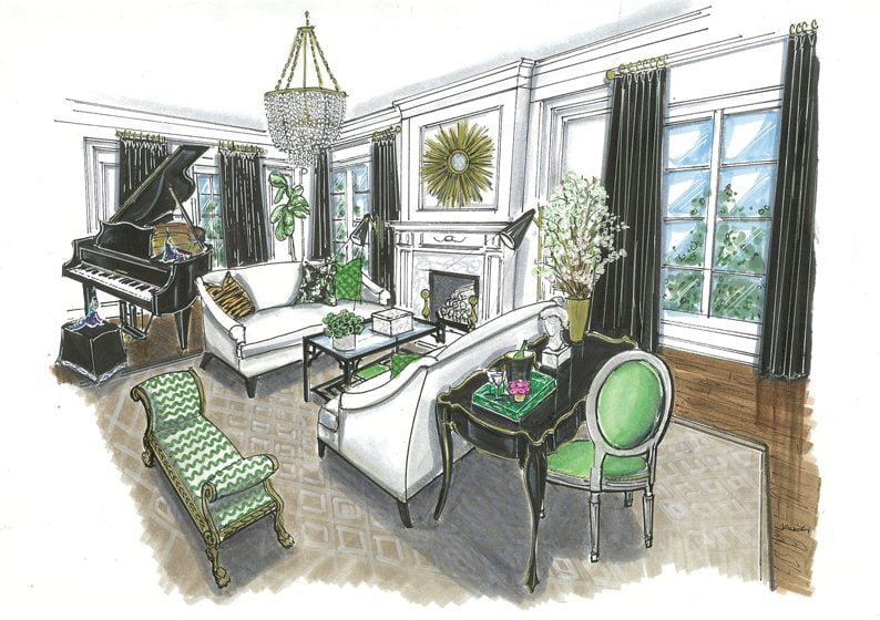 A drawing of the living room by Pamela Harvey offers a glimpse of the finished space.