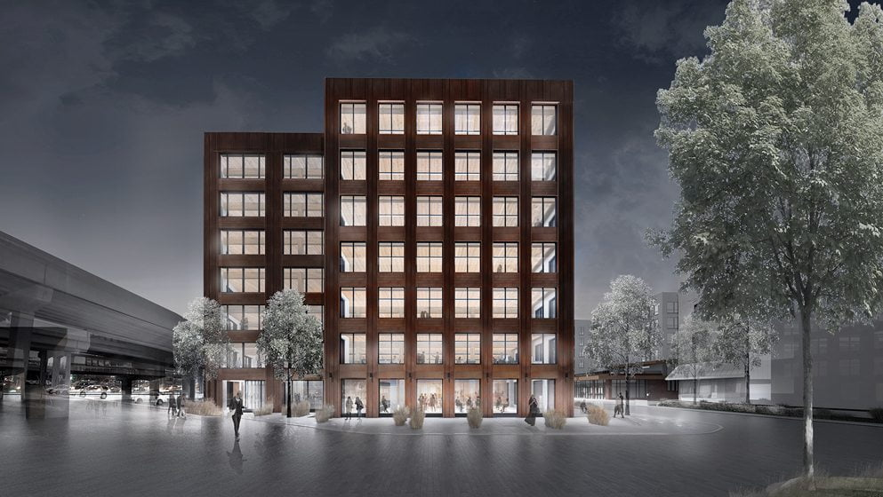 A rendering of architect Michael Green's seven-story T3 building.