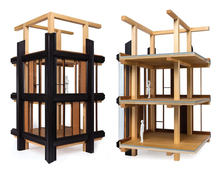 A model of a 10-story structural-timber building by SHoP Architects.