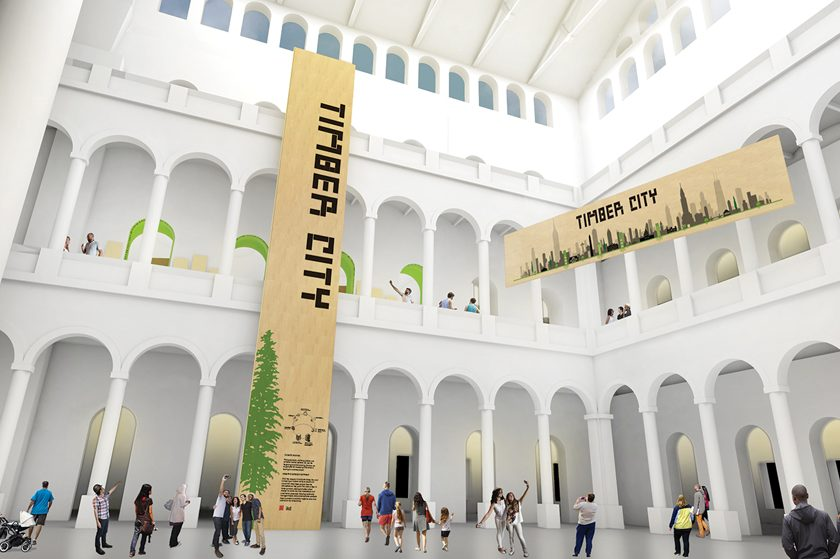 A virtual look at how cross-laminated timber panels will transform the museum's Great Hall.