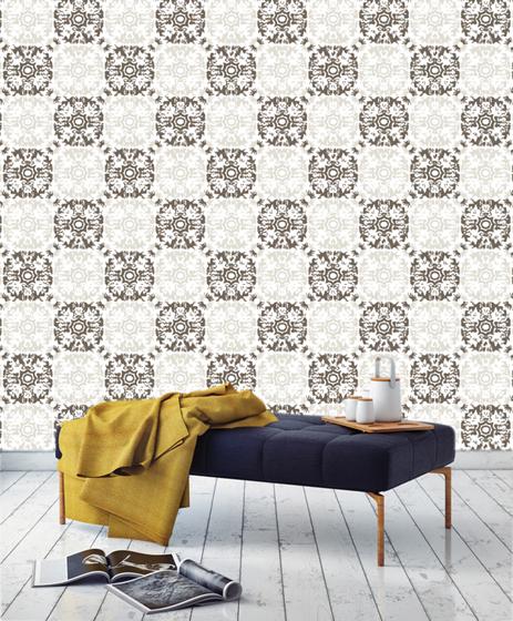 Victoria Larson's Fleur de Sel wallpaper, inspired by her textile designs.