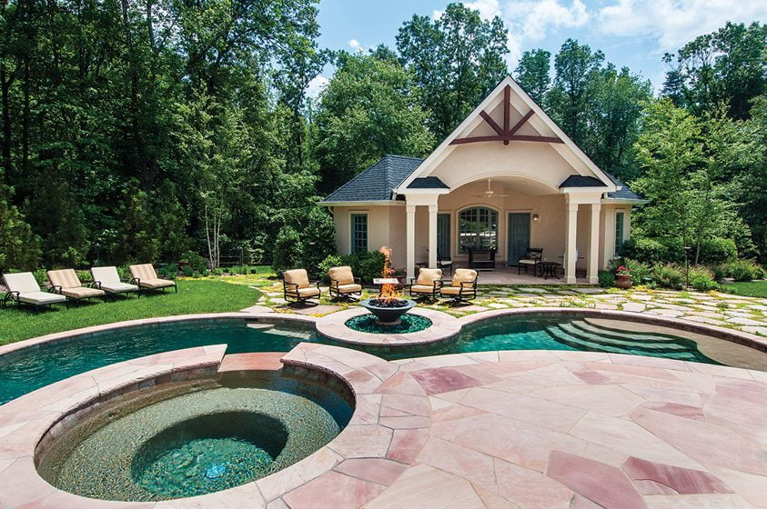 An elaborate pool scape designed by McHale in Great Falls.