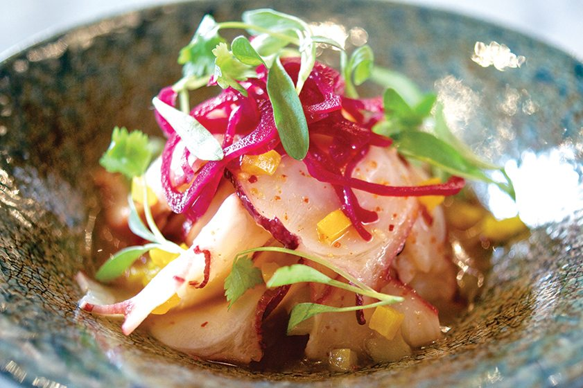 Conosci's Japanese octopus with spicy citrus juice, yellow peppers and pickled shallots.