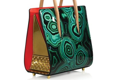 Christian Louboutin's Paloma Malachite Patent Leather Tote with faux-stone exterior.