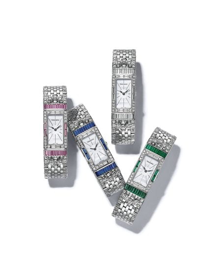 Tiffany's Art Deco Watches in (left to right) pink and blue sapphires, diamonds and emeralds.