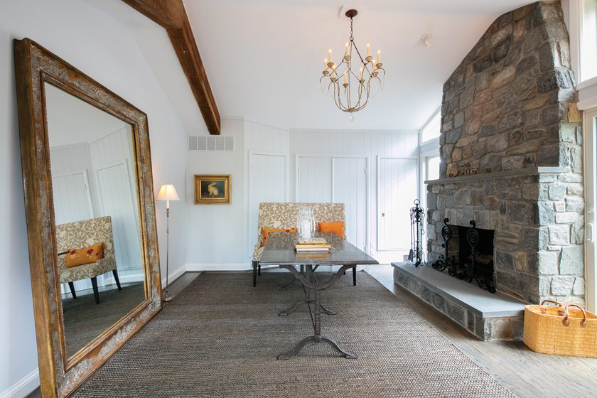 In Wolf's office, contractor Jeffrey Bayer added a stone hearth and mantel to the fireplace.