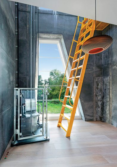 A ladder and a chair lift access the third level.