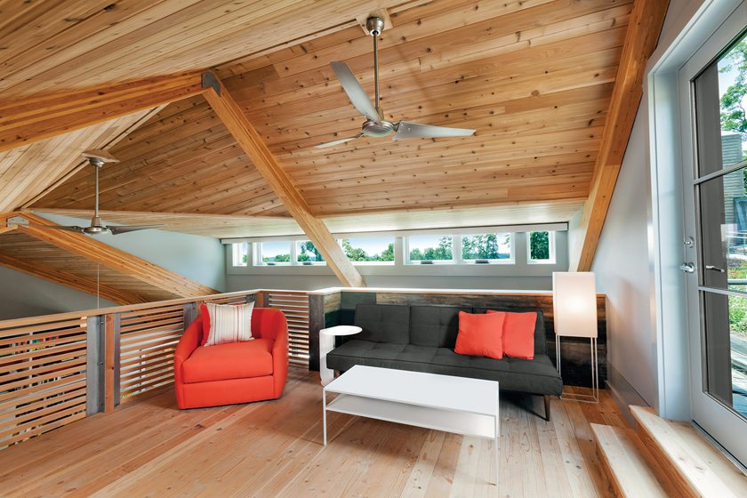The loft overlooks the kitchen/dining area.