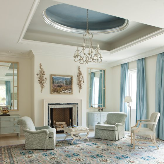 A Persian carpet inspired the blues in the master suite.