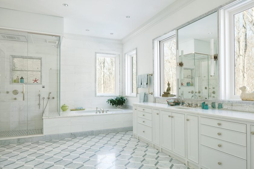 Zapatka designed the cabinetry and Waterworks supplied the materials for the master bath.