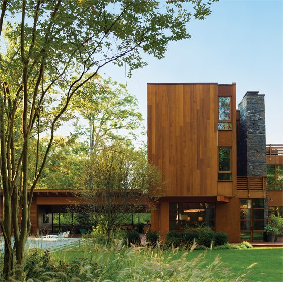 A dramatic modern home in Bethesda was conceived by Alan Dynerman. © Paul Warchol