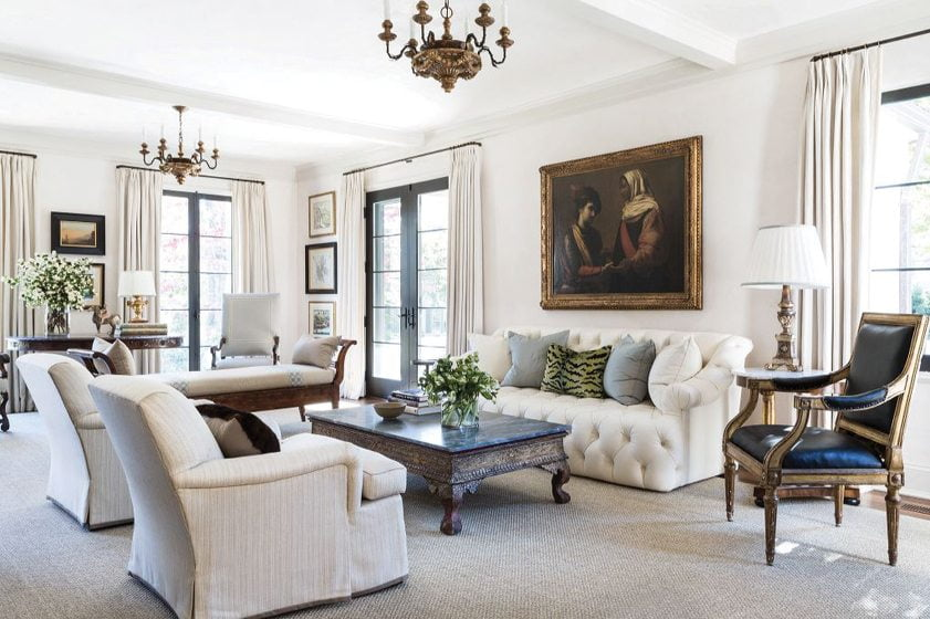 Andrew Law created an elegant living room in a Wesley Heights house. © Angie Seckinger