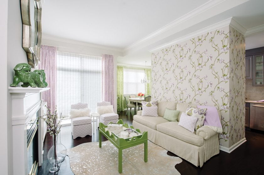 A living area is enhanced by lively lavender and lime-green accents.© Robert Radifera