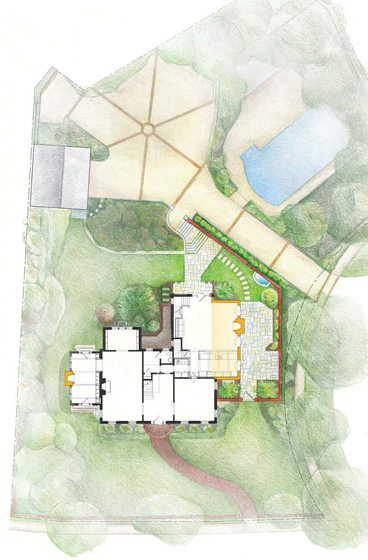 A conceptual drawing indicates the addition, in yellow, and new stonework behind and to the side of the house.