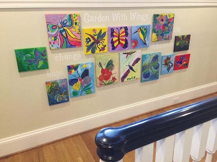 Artwork by Children's National Medical Center's young patients is displayed in an installation by artist Lisa Tureson.