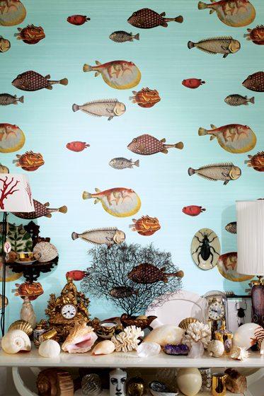 The Acquario pattern in Cole & Son's Fornasetti II wallpaper series.