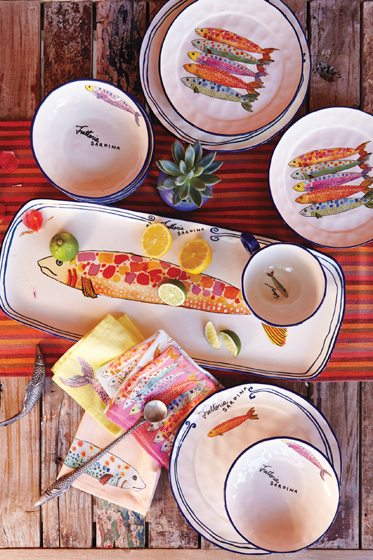 The Sardina collection of earthenware dishes from Anthropologie.