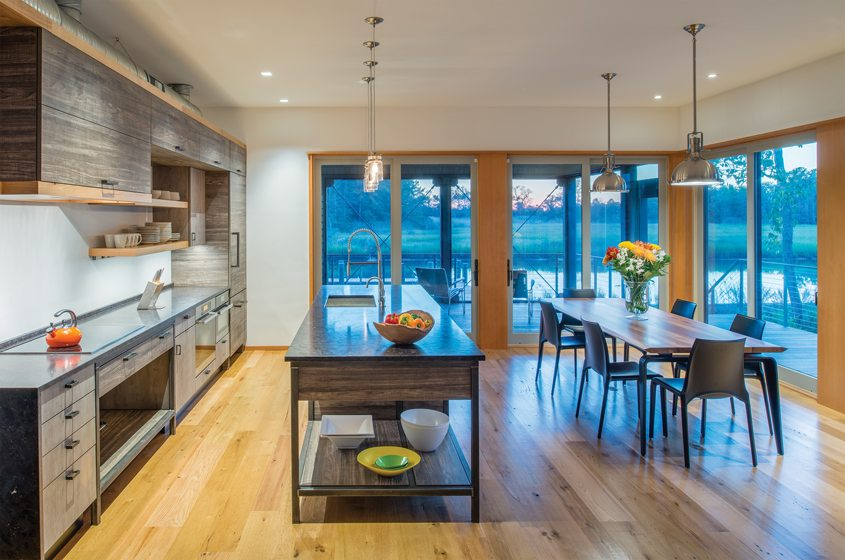 A spacious kitchen/dining area easily accommodates family gatherings.