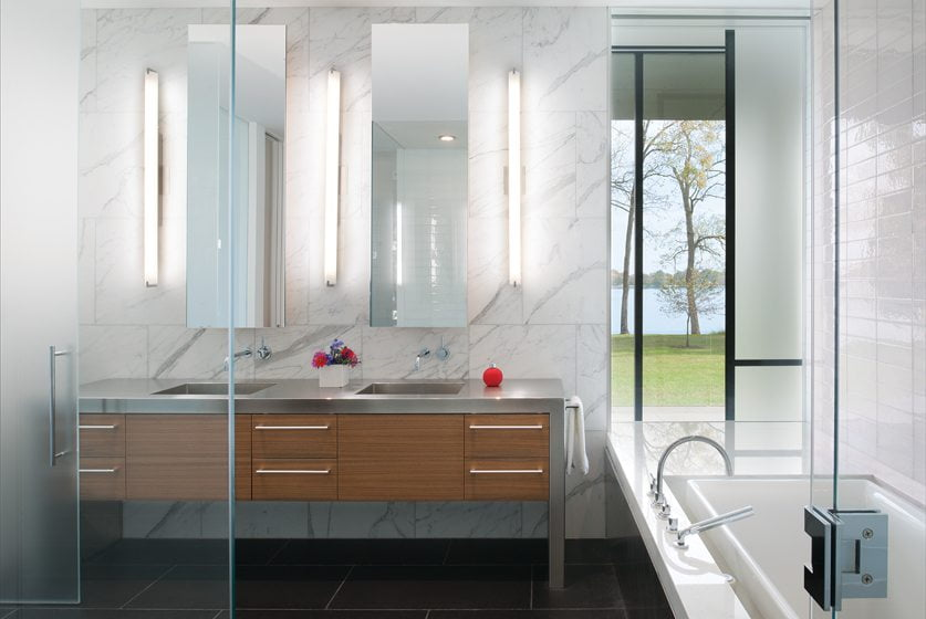 Glimpses of the river are visible from the tub in the master bathroom.