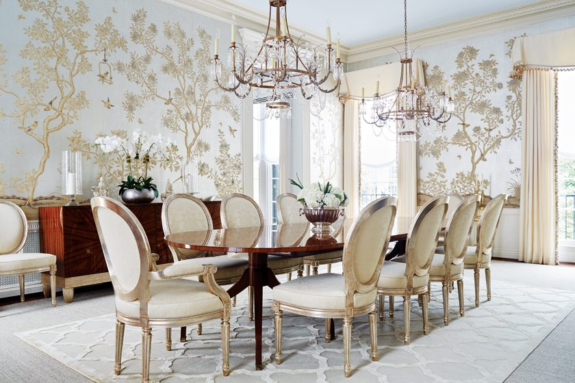 Hand Painted Gracie Wallpaper Sets An Elegant Tone In The Dining Room