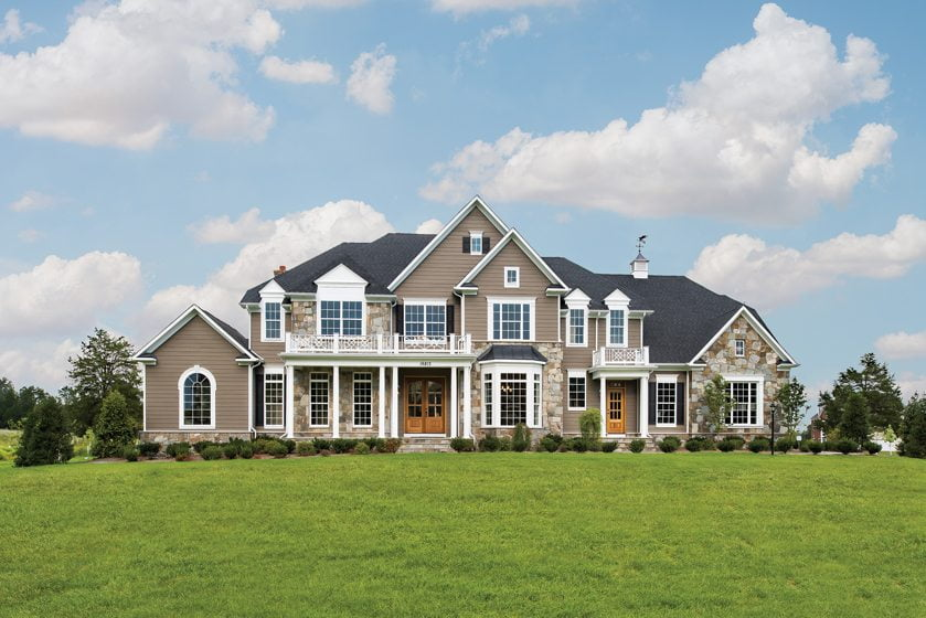 The recently completed, 9,000-square-foot Bellewood Manor model at Sudley Farm.