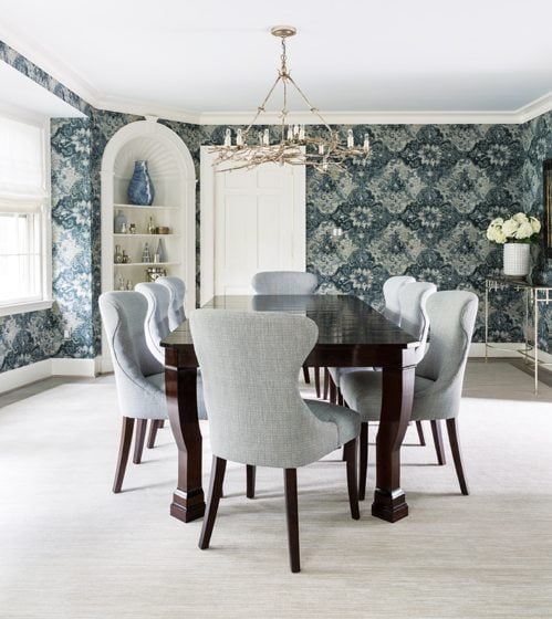 Paisley wallpaper by Arte makes a bold statement in the dining room.