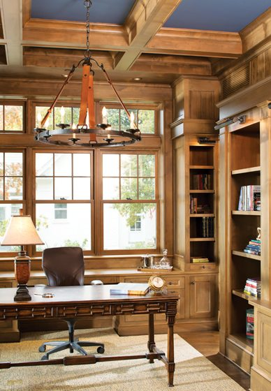 Cathy Purple Cherry designed the millwork in the husband's study.