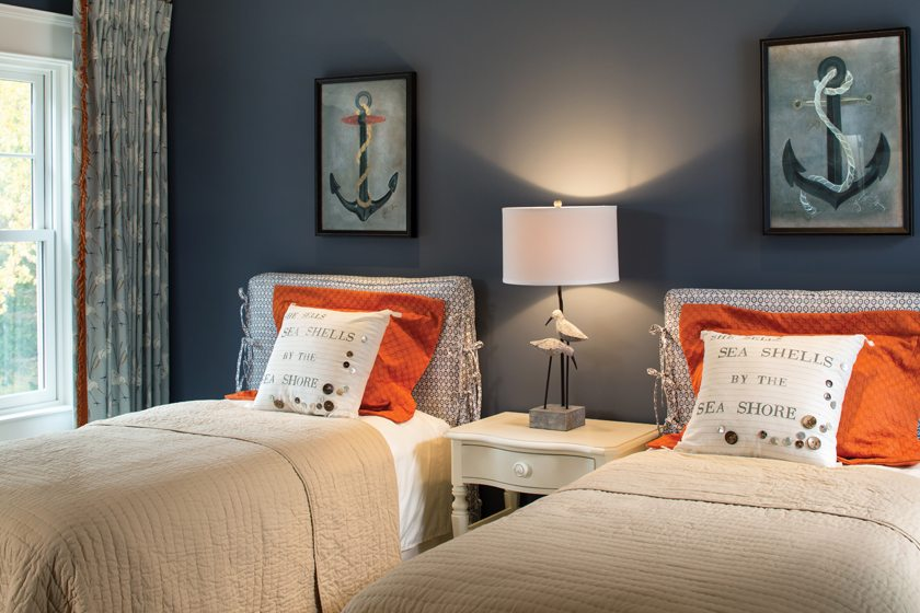 Arlene Critzos embraced the home's bayfront setting in a bedroom designed for the owners' grandchild.