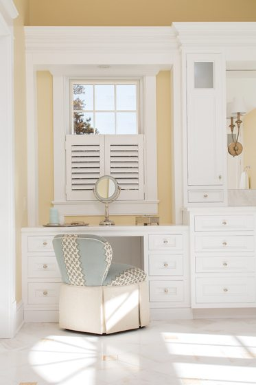 The master bath boasts a built-in vanity.