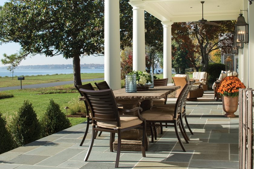 Weather-resistant seating creates a comfortable living area overlooking the Chesapeake.