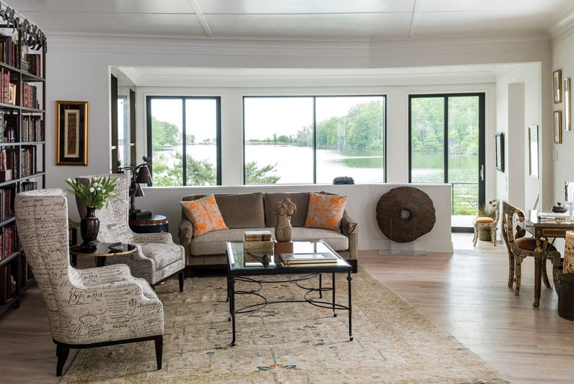 In the parlor, Hickory Chair wing chairs and a coffee table by La Barge greet visitors.