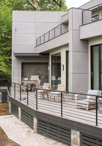 Rill extended the deck to accommodate a covered outdoor kitchen.