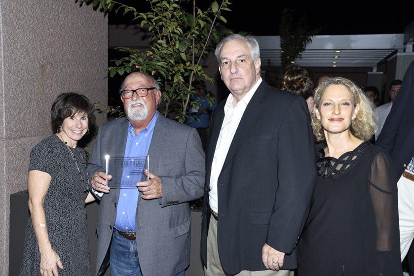 Julie Sanders, Custom Builders awardees Joe Bohm and George Fritz of Horizon Builders, Sharon Jaffe Dan.